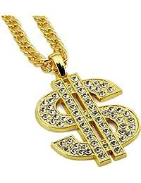 Street Hiphop Placcato Oro con Cristallo lucente dollaro americano ciondolo  catena lunga collana per uomo e f5cd2e6d9054