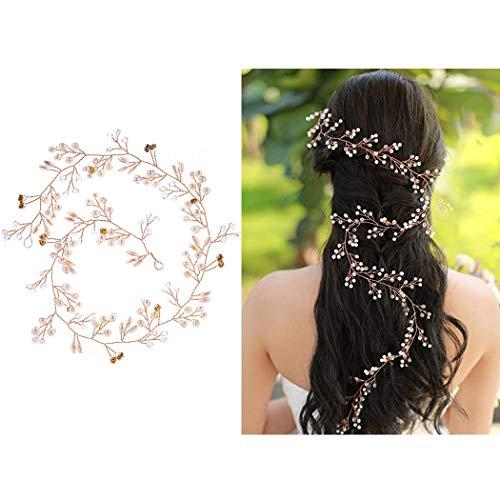 50cm/100cm Haardraht Hochzeit Haarschmuck Perlen Strass Brautschmuck Braut Haarkamm Kommunion Kopfschmuck Kopfabdeckung Stirnband mit Kristall Perle für Frauen und Mädchen (100cm, Gold)
