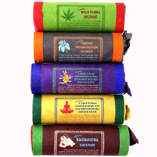 Tibetische Räucherstäbchen - 20 Sorten - Komplettset, 4er Set oder Einzelsorte - Räucherstäbchenhalter inklusive (5er Set - Klassische Mischung)