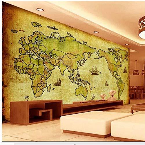 Lsfhb Benutzerdefinierte 3D Wandbild Tapete Vliestapete Altes Kraftpapier Karte Welt Wohnzimmer Tv Rückwand Bettwäsche Raum 3D Fototapete-280X200Cm