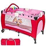 Lit bébé Multifonction Pliable, Table à langer avec rebords, Poche de rangement Hamac, Barre de jouets (équipée de 3 jouets), Sac de transport (Rouge)