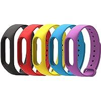 WindTeco Pack de 5 Correa Xiaomi Mi Band 2, Silicona Repuesto Pulsera Recambio Reloj Banda Extensibles Correa Reemplazo para Xiaomi Mi banda 2, Rojo, Negro, Púrpura, Amarillo, Azul (Sin Rastreador de actividad)