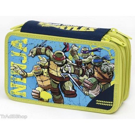 Tradeshoptraesio - astuccio 3 cerniere zip triplo tartarughe ninja colori accessori giochi preziosi