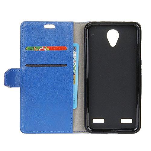 Crazy Horse Texture Pattern Faux Ledertasche Bookstyle Horizontale Flip Stand Case mit Card Slots für ZTE Blade A521 ( Color : Blue ) Blue