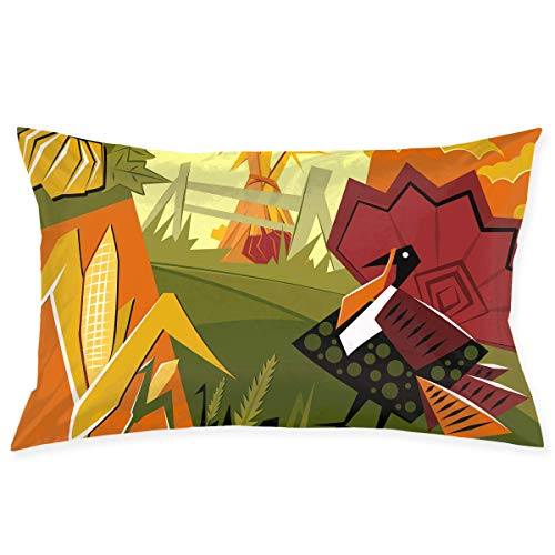 throw pillowcase Cute Turkey Pumpkin Graphics Kissenbezug - Zippered Kissenbezug, Pillow Protector, Best Pillow Cover - Standard Size 20x30 Inches, Double-Sided Print (16x28 Kissen Legen)