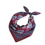Qinlee Kleiner Quadratische Halstuch Retro Blumenmuster Kopftuch Bandana Frühling-Sommer Taschentuch Schal für Unisex (Dunkelrot)