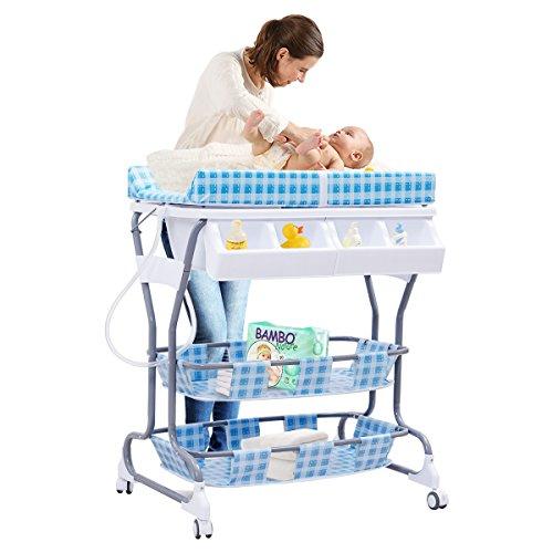 COSTWAY Wickeltisch Wickelkommode Wickelkombination Wickelauflage Wickelregal mobil +Baby Badewanne (blau)