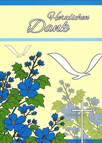 Danksagungskarten Kommunion mit Umschlägen und Innentext Motiv: Vögel / Kreuz (20 Karten) // Dankeskarten Dankeschön Karten Danke sagen (K77)