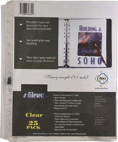 Filexec Sheet Protectors, Letter, 3.6 mils, Top-load, Clear (5 Packs of 25) (50113-30334)