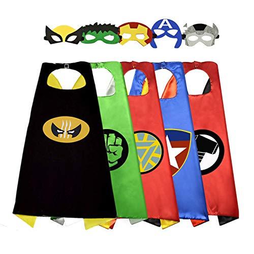 Sinoeem costumi da supereroi per bambini-5 mantelli e 5 maschere- regali di compleanno - costumi carnevale mantelli e maschere giocattoli per bambini e bambine (capes girl-a)