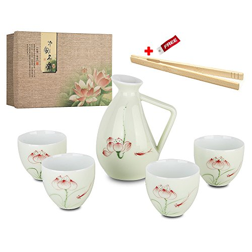 5 Piece Japanese Sake Cup set mano loto porcellana dipinta in