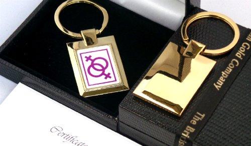 Lesbian 24K Carat Gold Gay Female Symbol Logo Keyring Luxury Gift Box Civil Ceremony Gift Love Christmas Birthday