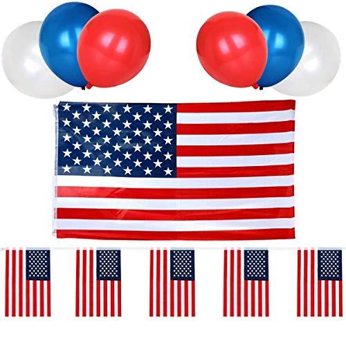 n Jack Wimpelgirlande USA Wimpelgirlande und 30 Luftballons in rot weiß blau ideal als patriotische Dekoration ()