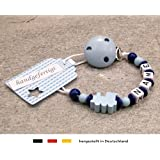 Pacifier Holder with preffered Name Beststeller from Germany Girls /& Boys Motif Football Club Colors Blue White and Black Personalised Baby Dummy Clip