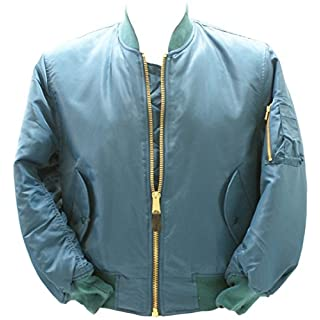 armyandoutdoors MA1 Bomber Flight Jacket with Heavy Brass Zip (Medium, Turquoise)