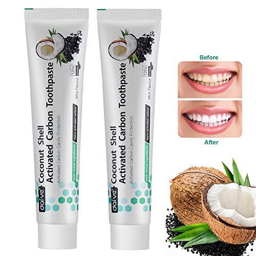 Aktivkohle Zahnpasta Vista Kokosnuss Aktivkohle Zahnpasta für weiße Zähne Fluoridfrei Natürliche Zahnaufhellung Teeth Whitening Frischer Atem Minze Geschmack (2 Stück)