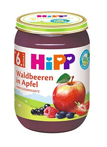 HiPP Früchte Waldbeeren in Apfel, 6er Pack (6 x 190 g) 2 Obst-dessert