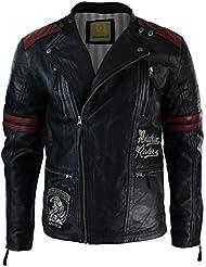 Veste cintrée en cuir noir pour homme avec insignes fermeture éclair motard course retro décontracté