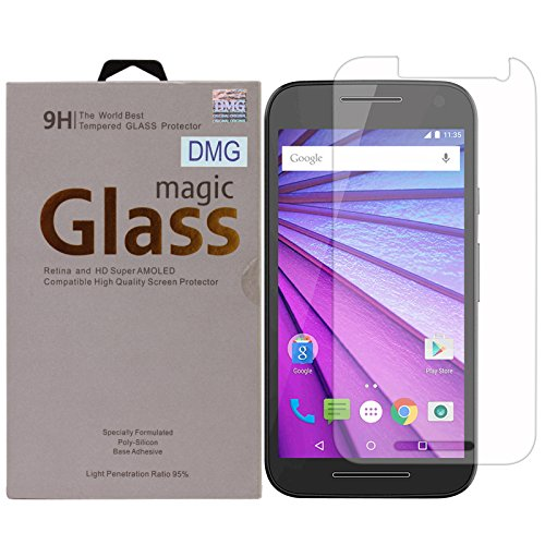 DMG Curved Tempered Glass Screen Protector for Motorola Moto G 3rd gen (2.5D Arc 9H 0.3mm)