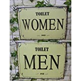 Juego de 2 nostalgisches placa para puerta WC Women/Men Chapa Cartel Pared
