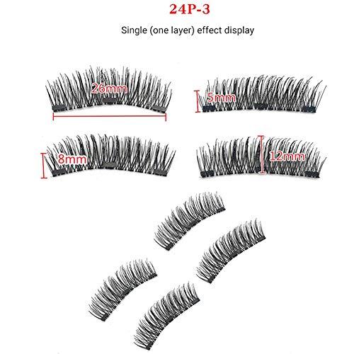 Magnetische Wimpern 3 Magnete Volle Augen,freie Spuren Magnetische Wimpern Volles Auge Natürliches Aussehen Falsche Wimpern Geeignet für natürliches Make-up,Bestes wiederverwendbares 3D,4 PCS,24p