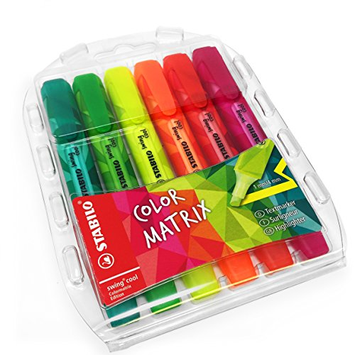 STABILO color Matrix Swing Cool Textmarker, grün, hellgrün, pink, rot, orange, gelb–Brieftasche–6Stück–275/6–07 (Zazzle Zebra Textmarker)