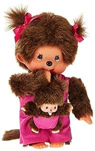 Sekiguchi 236200 - Monchhichi Mutter mit Baby in rosa Kleidchen