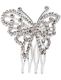 Ecloud Shop® Peineta Peine de Cabello Pelo bañado de plata + circonita Mariposa 53 mm