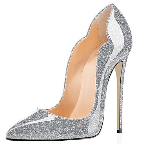 ELASHE Damen Spitze Zehe Schuhe 120mm High Heel Pumps Hohen Absätzen Geschlossen Abendschuhe Glitzern-Silber EU44