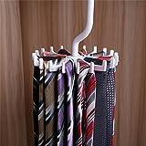Zollyss Plastic Rotating Tie Rack Hanger 20 Hooks Clostet Tie Clothes Holder Household Hanging Necktie Belt Shelves Organizer