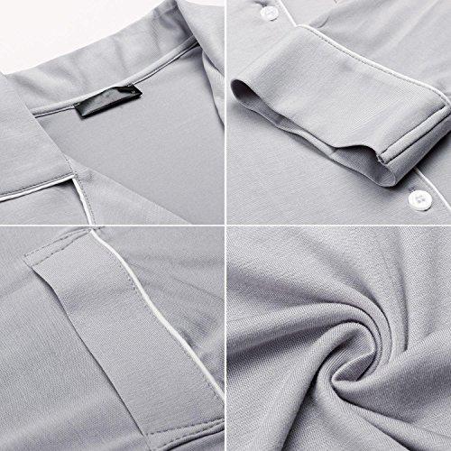 Keland Damen Nachthemd Hemd Negligee Luxus Nachtwäsche Sleepshirt mit Reverskragen und Brusttasche Langarm:Grau