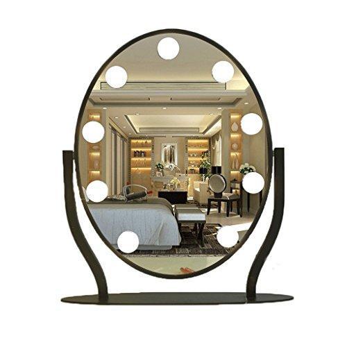 Silber Drei Licht-eitelkeit (Spiegel Make-up Metallkluge runde LED mit Glühlampe-Desktop-Eitelkeits DREI-Farben Fülle Licht Schminkspiegel (Farbe : Weiß))