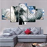 gwgdjk Moderna Pittura5 Pannelli Elefanti Cielo Blu Paesaggio HD Stampato Arte su Tela Poster Home Decor Parete Foto-40X60/80/100Cm,Without Frame
