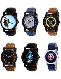 NIKOLA Modern 3D Design Mahadev Captain America Black Blue And Brown Color 6 Watch Combo (B22-B40-B14-B36-B23-...