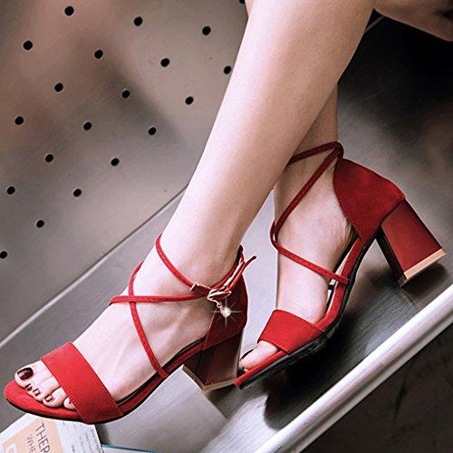 Oaleen Sandales Ouverte Femme Sexy Talons Moyen Lanière Croisé Chaussures Eté Soirée Rouge élégant