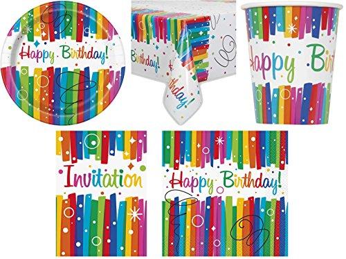 t Regenbogen Kindergeburtstag Geburtstag Party Fete Feier 8 Teller, 8 Becher, 16 Servietten, 8 Einladungskarten, Tischdecke ()