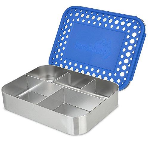 LunchBots Bento Cinco Récipient alimentaire en acier inox – Conception à 5 compartiments pour une variété bien équilibrée d'aliments – Boîte repas Bento écoresponsable – Compatible avec le lave-vaisselle et sans BPA – Bleu