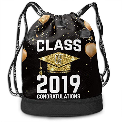 nbvnc Cinch-TascheTurnbeutel2019 School Graduations with Golden Bachelor Cap Multifunctional Bundle Backpack Fashion Gym Bag Funny Cosmetic Bag Light Casual Daypack for Shopping Sport Yoga