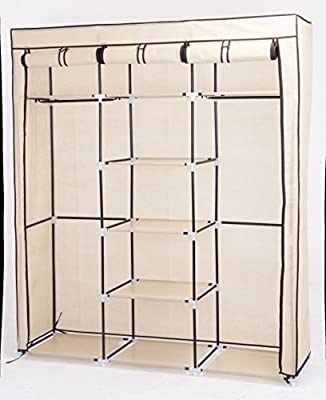 Canvas Wardrobe Cupboard Clothes Hanging Rail Storage Shelves(Beige) - cheap UK light store.