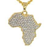 NASHUBIA Carte De Mode De L'Afrique Pendentif en Cristal Collier Femmes Bijoux Collier Hip Hop Vintage Ethnique Power Maxi Déclaration Collier