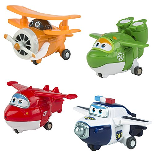 Super Wings - Lote 4 Super Wings transformables: Jett, Mira, Paul y Grand Albert (ColorBaby 75866)