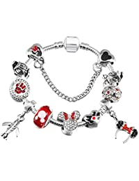 84553024182d GSYDSZ Pulsera Plateada de Plata del Encanto de Mickey con trébol de  Cristal Encantos Colgantes encajan