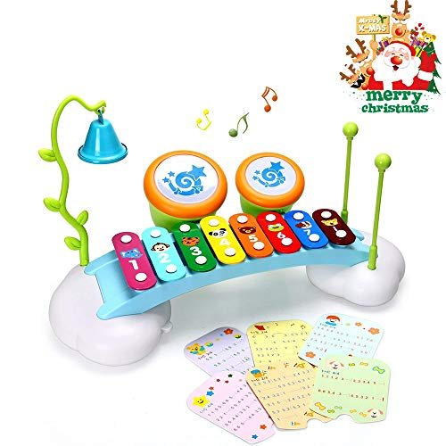 ACTRINIC Baby-Spielzeug Xylophon für Kinder Regenbogen Xylophone Brücke mit 8 Hellen bunten Taste, Klingel Glocke und Trommel, Musikinstrument Spielzeug für Jungen und Mädchen