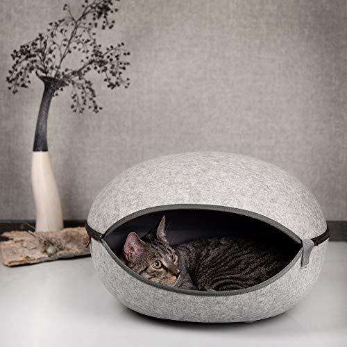 CanadianCat Company ® | Katzenest, Katzenhöhle in Uni-grau - das Katzenbett mit Stil