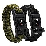 Renge 2 Pack Outdoor Emergency Bracciali Paracord Kit di sopravvivenza Kit con bussola Salvataggio Corda Avvia fuoco Coltello di emergenza raschietto Coltello Fischio per campeggio Trekking Viaggi Sop