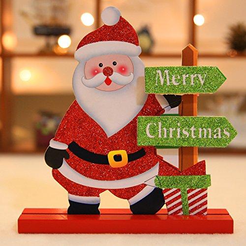 PANGUN Weihnachten 2017 Tischdekoration Holz Christmas Snowman Santa Claus Elk Ornament Dekor Handwerk-Weihnachtsmann