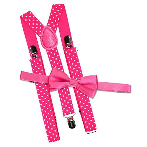 Kinder gepunktet Hosenträger & Fliege Kostüm Satz - Hot Pink (Welttag des (Welttag Kostüme Buches Des Uk)