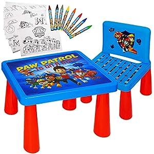 alles-meine.de GmbH Set: Tisch & Stuhl – incl. Malvorlagen + Stifte – Paw Patrol – Hunde – inkl. Name – Maltisch…