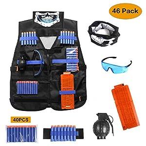 Homelegace Gilet Tactique Enfant, Veste Kit de Jungle Camouflage Tactique pour N-Strike Elite Séries de Nerf Combat d'imitation