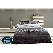 ForenTex - Edredón nórdico, (M-3029), Gris Blanco, cama de 135 cm, 220 x 260 cm, +2 fundas cojines, parte superior Ultra suave con tacto tipo peluche ...